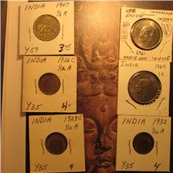 (6) Old India Coins including some High Grade. 1947 Half Rupee, Y59; 1964 One Rupee, BU; Mahatma Gan
