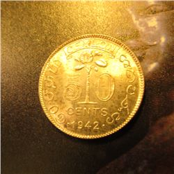 1942 Ceylon Fifty Cent. BU. KM114. Y33.