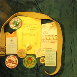 "Web Boy Scout Belt with Brass Buckle; ""Trained Leader Tall Corn Council"" Cloth Patch; ""Jaycee-Illowa"