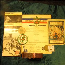 "More Boy Scout Material: B.S.A. Lapel Leader Stud; Canton, Mo. Troop Charter from 1949; ""Boy Scouts"