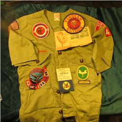 """Camping"" Merit Badge card; New Zealand Stamped Scouting Envelope; ""Y-Indian Father and Son YMCA Pal"