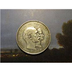 1892(h) Denmark .800 fine Silver 2 Kroner. Golden Wedding Anniversary. KM800. EF.  KM catalog value