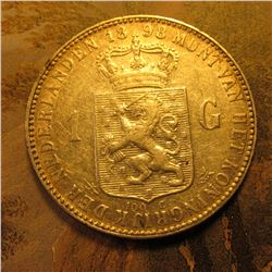 1898 Netherlands .9450 Fine Silver One Gulden. KM122.1 VF-EF.