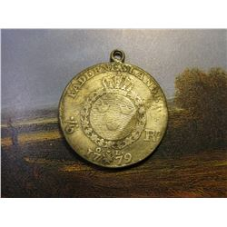 1779 Sweden Silver 1/6 Riksdaler. Loop soldered to top for hanging from a necklace. Fine.