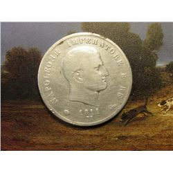 "1811 M Italy Five Lire ""Emperor Napolean"" .900 fine Silver. Issued prior to his exile to the Island"