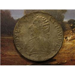 1786 France Crown-sized Coin, possibly a counterfeit. Sold as is.