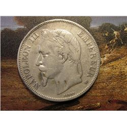 1869BB France Silver Five Francs. Napoleon III. KM799.2. VF.