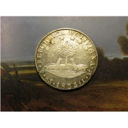1833PTS LM Bolivia .9030 fine Silver 8 Soles. KM97. Choice AU to Unc.