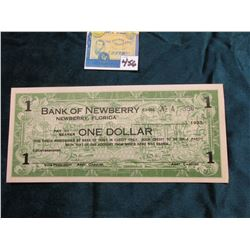"""1933 Depression Scrip One Dollar """"Bank of Newberry 63-186 Newberry, Florida"""" Unsigned. Mint conditio"""