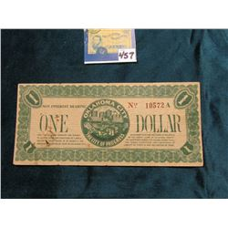 """1933 Depression Scrip One Dollar """"Non Interest Bearing Oklahoma City The City of Progress"""", """"This is"""