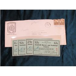 """Pre 1935 Depression Scrip: 10c, 25c, 50c, & $1.00 """"Goodwill Barter and Exchange Centers…Kansas City,"""