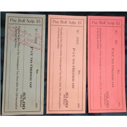 """1933 Depression Scrip from (Gloversville, N.Y.) $1, $2, & $5 """"Pay Roll Scrip"""".  NY180-1, NY180-2, &"""