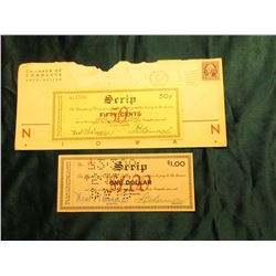 """Unknown or listed Depression Scrip with original stamped envelope from """"Chamber of Commerse Hotel Ma"""