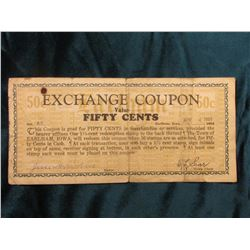 1933 Depression Scrip: MS #:  IA350-.50, City:  Earlham, Issuer:  Exchange Coupon, Issue Date:  Apri