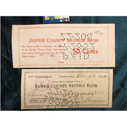 """Unknown Newton, Iowa Depression Scrip """"Jasper County Savings Bank This Charge is made in conformity"""