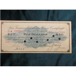 """Panic of 1907 Scrip $5 """"San Francisco Clearing House Certificate San Francisco, Ca."""", hole cancelled"""