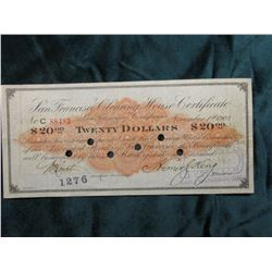 """Panic of 1907 Scrip $20 """"San Francisco Clearing House Certificate San Francisco, Ca."""", hole cancelle"""