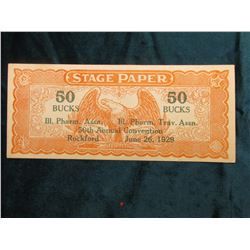 """""""STAGE PAPER"""" """"Ill. Pharm. Assn. 50th Annual Convention Rockford June 26, 1929""""."""