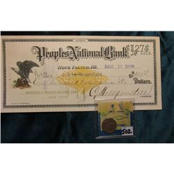 "1858 U.S. Flying Eagle Cent, VF; & ""People's National Bank"" with Gold Revenue Stamp, 1899, from Rock"