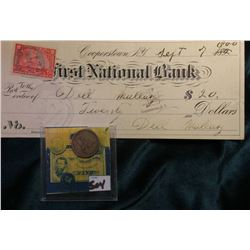 "1858 U.S. Flying Eagle Cent, VG; & ""Cooperstown, N.Y. First National Bank"" Check with documentary st"