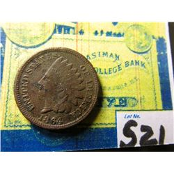 1864 L Civil War Indian Head Cent. Good. Slight porosity.