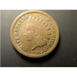 1864 L Civil War Indian Head Cent. G+.