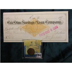 "1867 Indian Head Cent. AG; & 187_ Check from Erie, Pa. ""Erie Dime Savings and Loan Company."" with go"