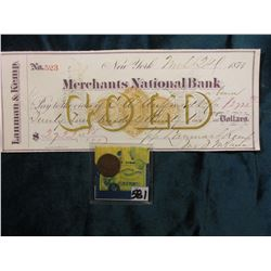 "1874 Indian Head Cent. Good; & 1874 ""Gold"" Check drawn on ""Merchants National Bank of New York"" by """
