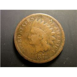 "1874 Indian Head Cent. VG; & 1874 ""Gold"" Check drawn on ""Merchants National Bank of New York"" by ""La"