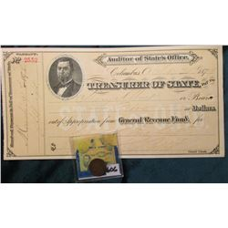 1879 Indian Head Cent. Good & May 31, 1879 General Revenue Fund Warrant from Auditor of State's Offi