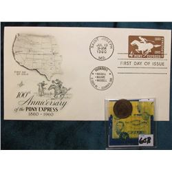1879 Indian Head Cent. Good; & 1960 100th Anniversary of the Pony Express 1860-1960 First Day of Iss