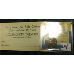 "1879 Indian Head Cent. Good; & ""Buck Jones Air Rifle Contest Oct. 1 to Nov. 22, 1935 Community Theat"
