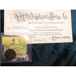 "1880 Indian Head Cent. EF; & Business Card with building lithograph on reverse ""The Winstow Bros. Co"