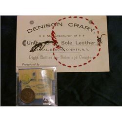 "1883 Indian Head Cent, G+; & Business card with Apple design stiching ""Denison Crary Manufacturer of"