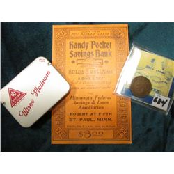 "1882 Indian Head Cent, Fine; ""Handy Pocket Savings Bank… Holds 3 Dollars A Dime a Day…"" St. Paul, Mi"