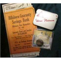 "1883 Indian Head Cent, VF; ""Hillsboro Guaranty Savings Bank Hillsboro, New Hampshire"" Ink Blotter; &"