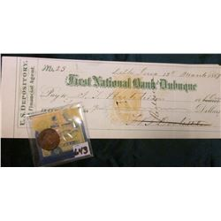 "1889 Indian Head Cent. EF; & a Check written at Delhi, Iowa 13th March, 1869 on the ""First National"