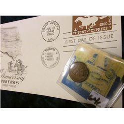 1889 Indian Head Cent. EF; & 1960 100th Anniversary of the Pony Express 1860-1960 First Day of Issue