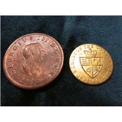 Great Britain: 1807 Half-Penny, EF & 1788 George III Spade Half-Guinea Card Counter, AU-BU.
