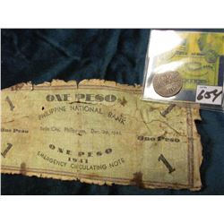 "1883/2 Philippines .8350 fine Silver 10 Centimos, Fine, KM148 & ""Emergency Circulating Note of 1941"