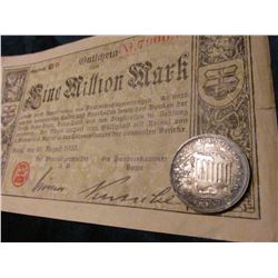 1925  Austria, Silver Shilling, Unc, Moderate toning & August 1923 One Million Mark Banknote from Bo