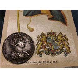 1818 Sweden Charles XIV Medal & Silk 1910 era Flag of Sweden.