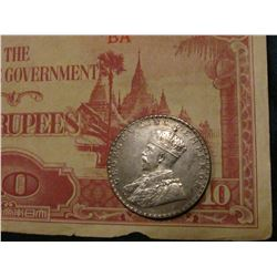 "1912 British India .917 Fine Silver One Rupee, KM524, AU; & Ten Rupees ""The Japanese Government"" not"