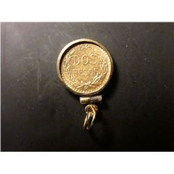 1945 Mexico 2 Peso, .900 fine Gold, .0482 oz. Mounted in a Gold-filled bezel to wear on a necklace.