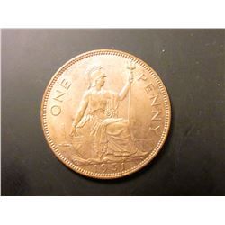 1951 Great Britain Large Penny, KM869, Brilliant Unc, KM value $60.00.