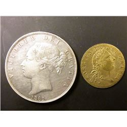1881 Great Britain .9250 fine Silver Half Crown, KM756, EF; & 1788 Great Britain King George III Spa