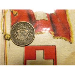 1859 Switzerland 20 Rappen, VF, Y22; & 1910 era Switzerland Silk with Flag & Coat-of-Arms.