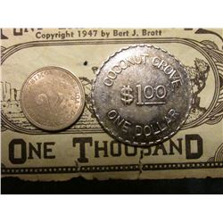 "1907 Panama 2 1/2c, KM7.1, Brilliant Unc, KM value $80; 1947 ""Pony Express Money"" One Thousand; & Cl"