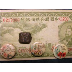 18th-19th Century India Dump Copper Coin, very thick; Rare Japanese One Yuan Banknote with Emperor;