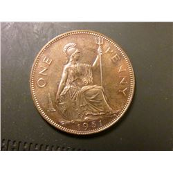 1951 Great Britain Large Penny, KM869, Proof, 20,000 mtg. KM value $50.00.